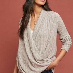 NWOT Akemi+Kin Cream Oatmeal Faux Wrap Sweater
